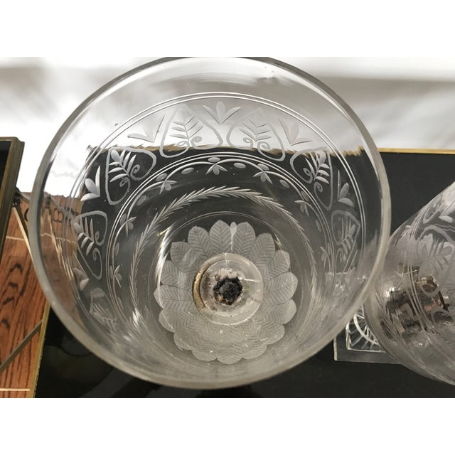 Art Deco Antique Hand Blown Etched Glass Candlestick For Sale - Image 3 of 6