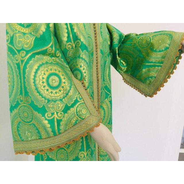 Green Elegant Moroccan Caftan Lime Green and Gold Metallic Floral Brocade For Sale - Image 8 of 13