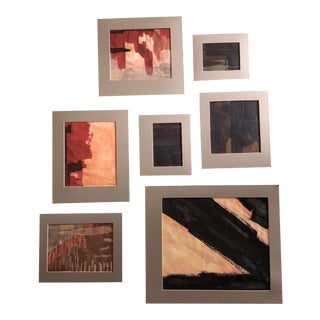 Original Vintage Ray Kinlock Abstract Paintings on Fabric - Collection of 7 For Sale