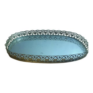 Vintage Mirror & Golden Edge Make-Up Tray