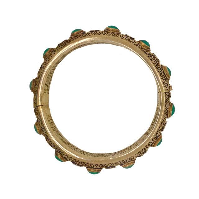 Vintage Chinese Gilt Silver Jade Hinged Bangle Bracelet For Sale - Image 4 of 6