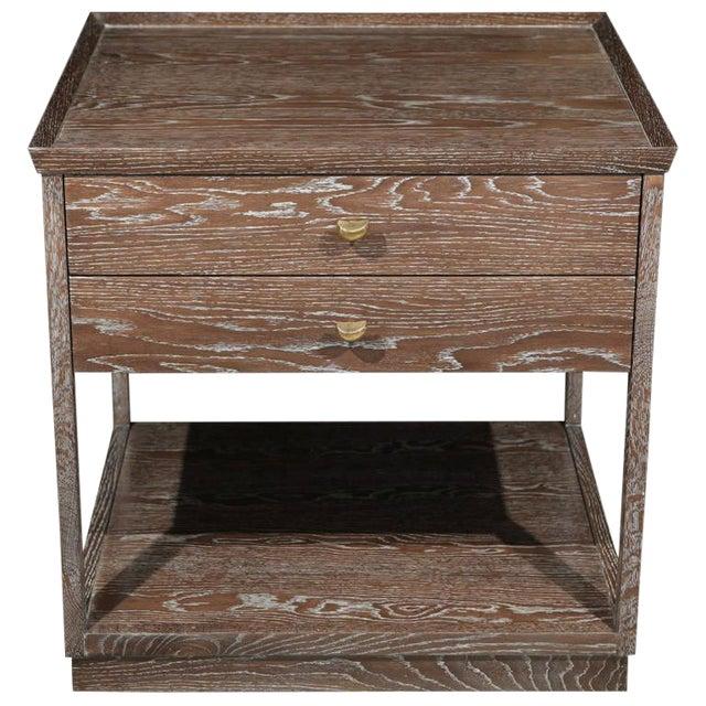 Paul Marra Ceruse Oak Two-Tier Nightstand For Sale