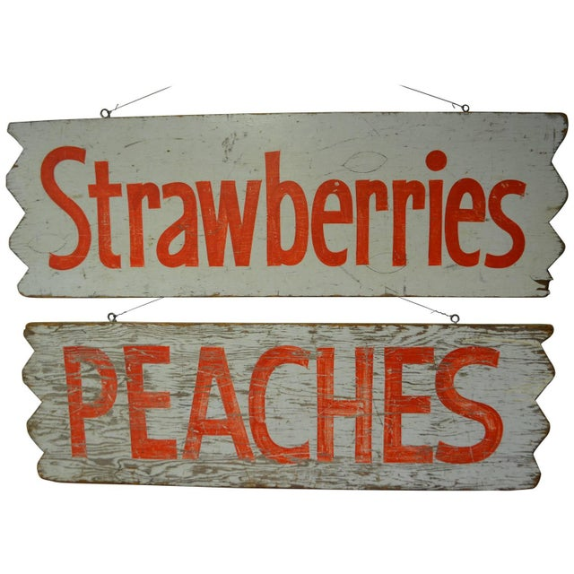 1950s Hand-Lettered Farm Produce Signs - Pair - Image 1 of 7