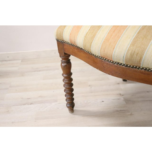 Early 19th Century 19th Century Italian Empire Walnut Armchair, Legs in Turned Walnut For Sale - Image 5 of 10