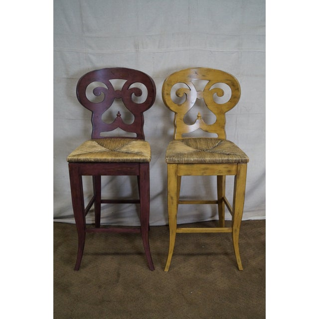 Store Item #: 14844-ax Biedermeier Style Pair of Set of 2 Counter Bar Stools AGE/COUNTRY OF ORIGIN: Approx 20 years,...
