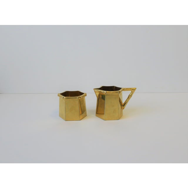 1970s Brass Bamboo Creamer & Sugar Set in the Hollywood Regency Style - a Pair For Sale - Image 9 of 9