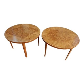 1940s Mid-Century Modern Grid Pattern Inlay Side Tables - a Pair For Sale