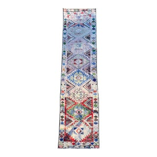 1970s Vintage Colorful Hand Knotted Oushak Wool Runner For Sale