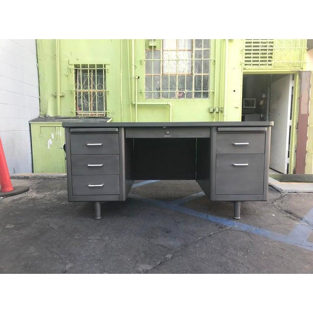 Metal Vintage Mid-Century Modern Brushed Steel Tanker Desk For Sale - Image 7 of 7
