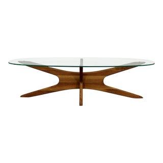 Mid-Century Danish Modern Adrian Pearsall 'Jacks' Glass Top Coffee Table For Sale