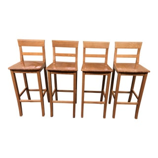 Set of Four Transitional Wood Bar Stools For Sale