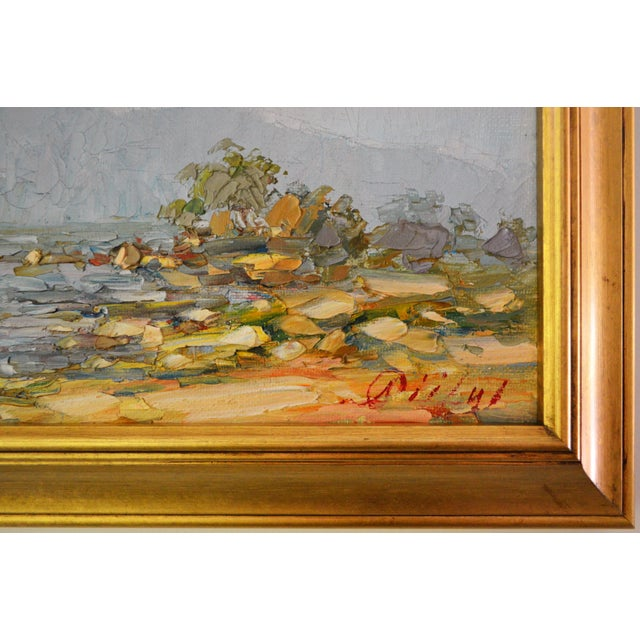 Blue Blue Water Landscape Oil on Canvas Painting Plein Air Gold Frame For Sale - Image 8 of 12