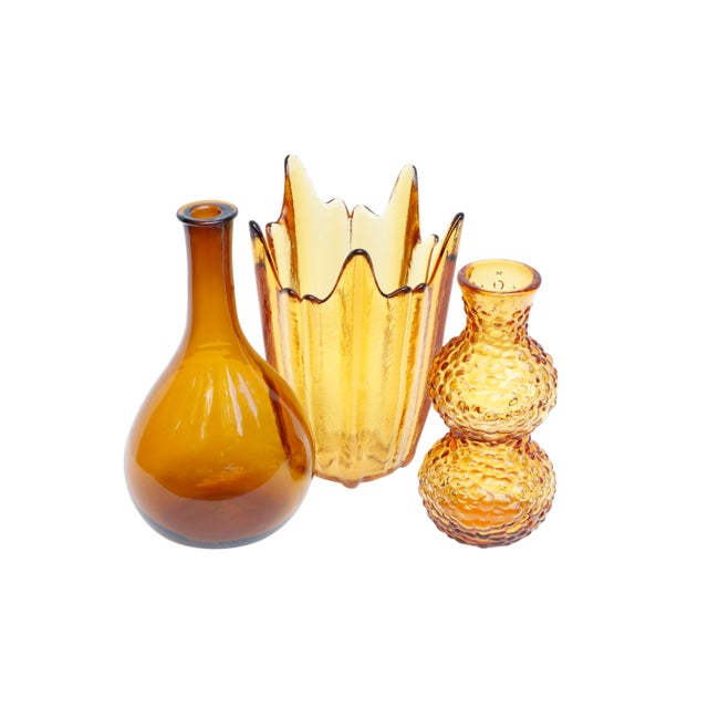Boho Chic Amber Glass Vases, Set of 3 For Sale - Image 3 of 11