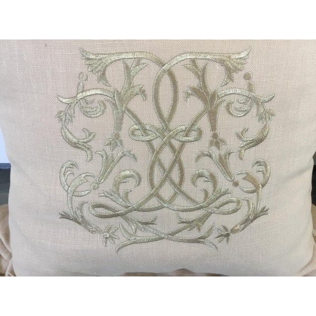 Metal Embroidered Linen Pillows - a Pair For Sale - Image 7 of 8