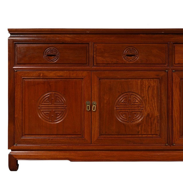 1950s Chinese Carved Rosewood Sideboard Buffet Table For Sale - Image 4 of 13