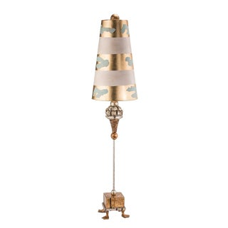 Pompadour Luxe Mixed Metals Hand Carved Striped Shade Table Lamp For Sale