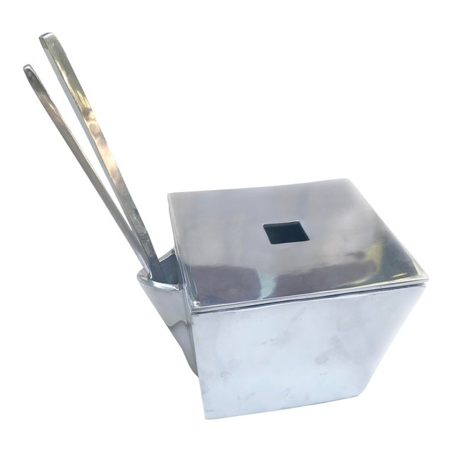 Lunares San Francisco Cast Aluminum Chinese Take-Out Lidded Box With Chopsticks For Sale