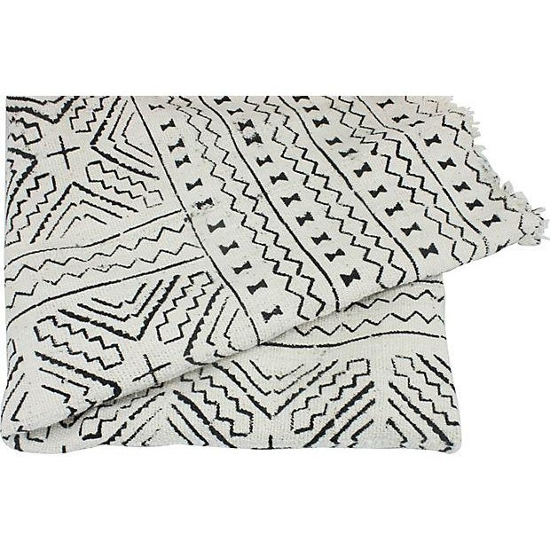 African Mud Cloth White & Black Throw - Image 3 of 4