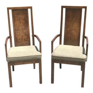 Vintage Thomasville Burled Wood Highback Arm Chairs - a Pair
