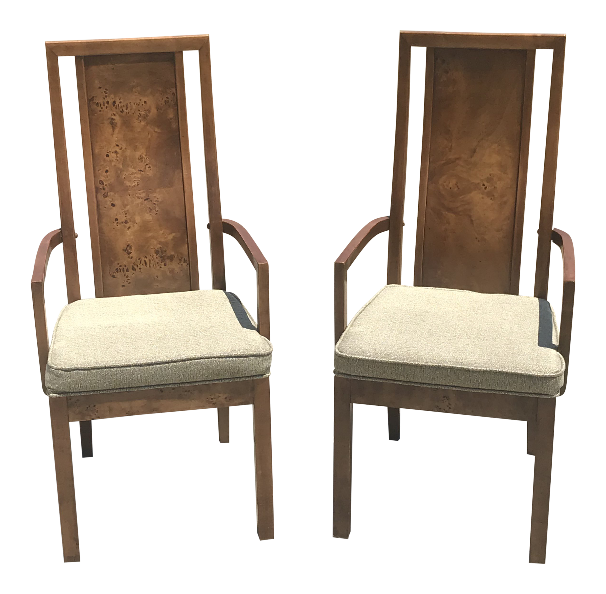 Vintage Thomasville Burled Wood Highback Arm Chairs   A Pair