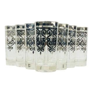 Vintage Mid Century Dorothy Thorpe High Ball Glasses Hollywood Regency - Set of 8 For Sale