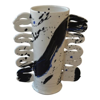 Contemporary Ceramic Cylinder Vase with Squiggle Handles- Calligraphy For Sale