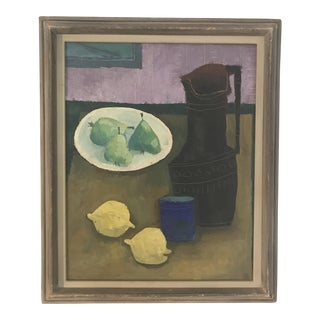 Early 20th Century Still Life Pears & Lemons Oil Painting