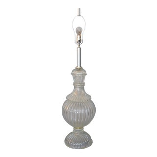 Italian Tall Clear Hand Blown Ribbed Murano Glass and Aluminum Neck Table Lamp For Sale