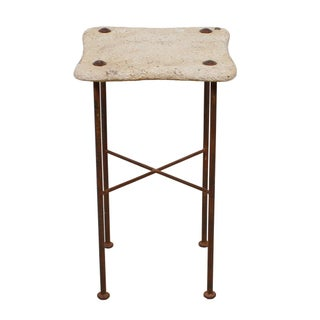 Tall Decorator Accent Table With Lava Top