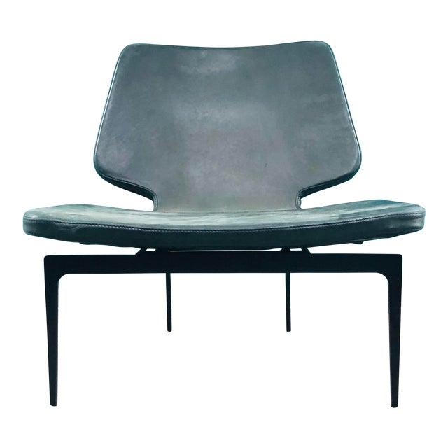 Modern Roberto Lazzeroni of Lema Italian Leather Lounge Chair For Sale