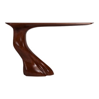 Console Table Ash Wood With Mounting Bracket - Walnut Stained For Sale