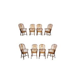1850s Vintage High-Back Windsor Armchairs- Set of 8 For Sale
