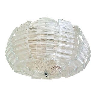 Large Clear Murano Glass Chandelier by Barovier & Toso, 1970s For Sale