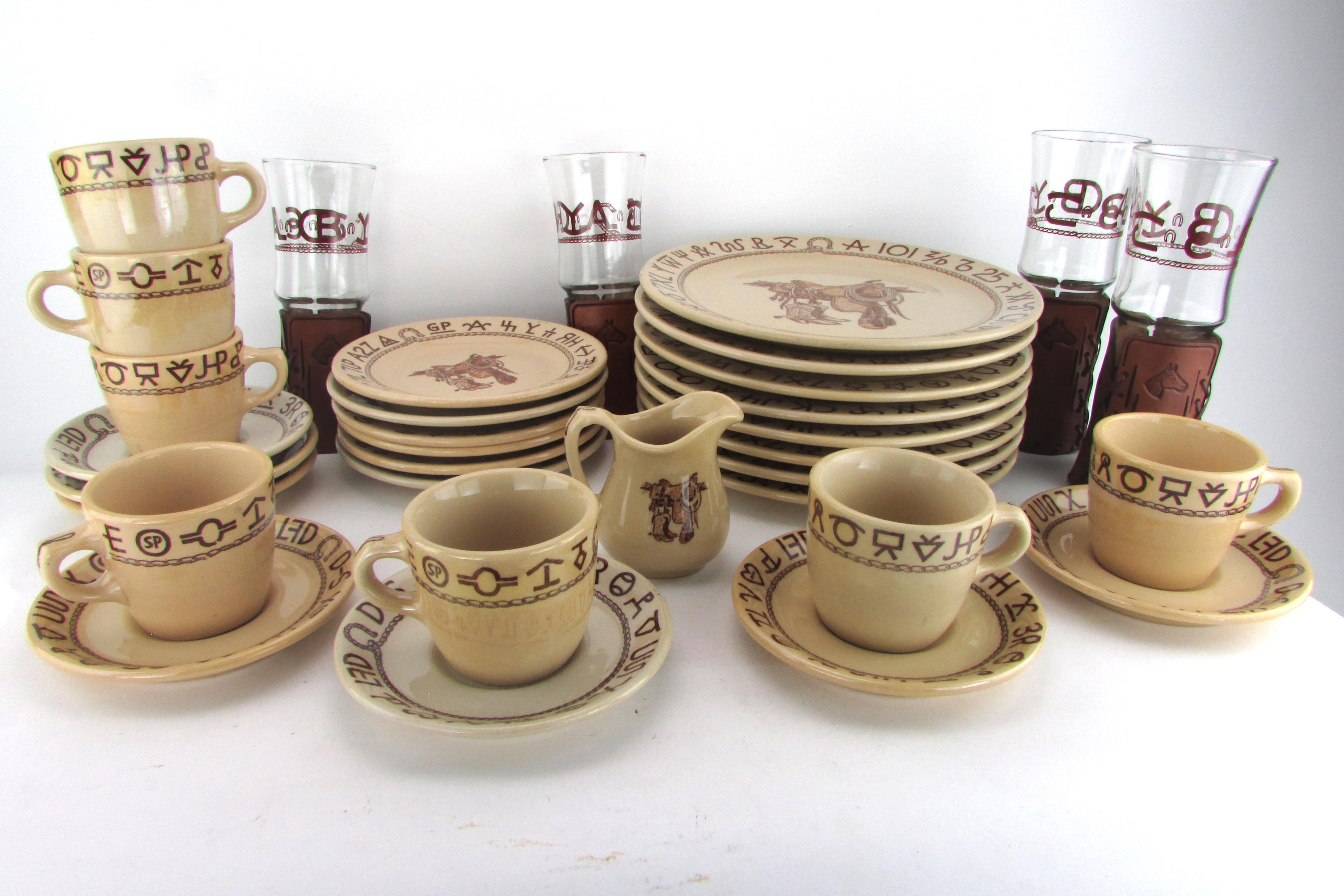 1940s Westward Ho Wallace China Dinnerware 33 Pcs W/ Leather Wrapped Glasses - Image 2  sc 1 st  Chairish & 1940s Westward Ho Wallace China Dinnerware 33 Pcs W/ Leather Wrapped ...