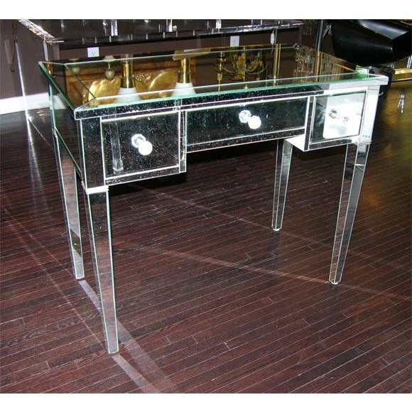 Silver Custom Mirrored Desk For Sale - Image 8 of 8