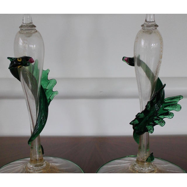 Glass Unique Pair of Dragon Form Murano Candle Holders For Sale - Image 7 of 9