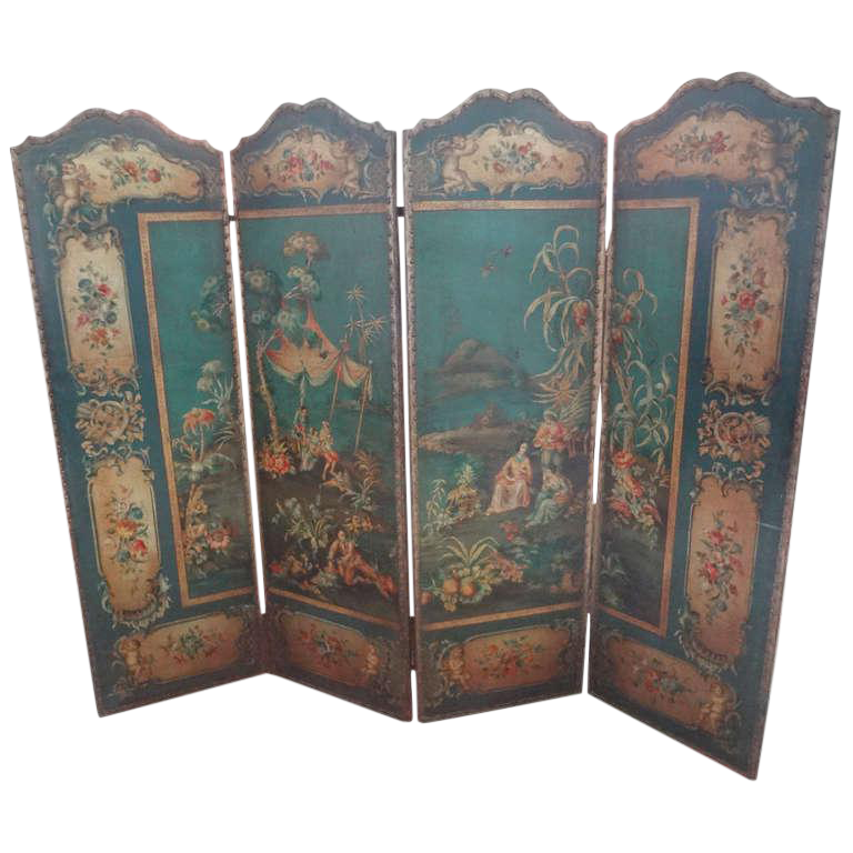 Antique Italian 4 Panel Leather Chinoiserie Screen or Room Divider