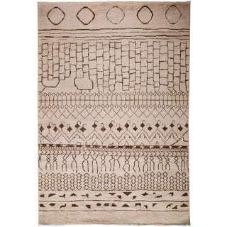 "Moroccan Hand Knotted Area Rug - 5'10"" X 9'0"" For Sale"
