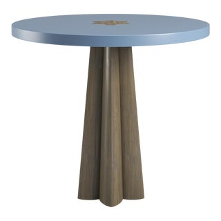 Danielle Side Table - Smoked Wood Oak - Summer Mist Blue For Sale