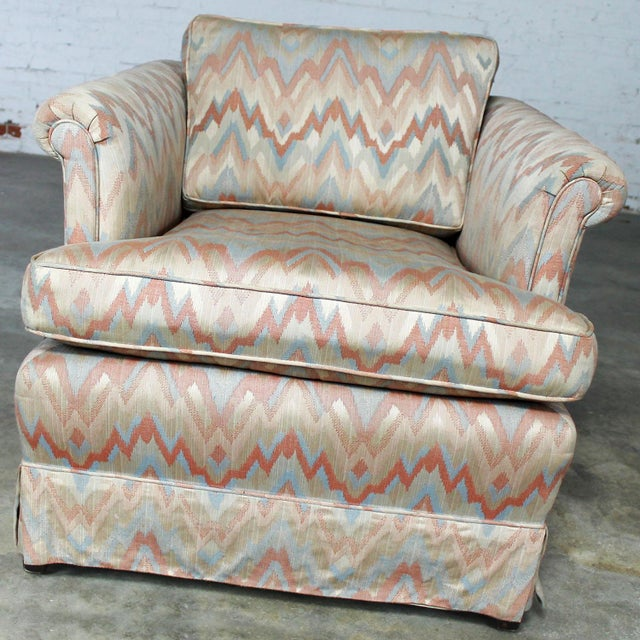 Tuxedo Style Skirted Lounge Chair with Rolled Arms and Flame Stitch Upholstery For Sale - Image 5 of 11