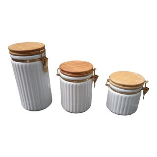 1980s Boho Chic Ceramic Prefered Stock Canisters - Set of 3 For Sale