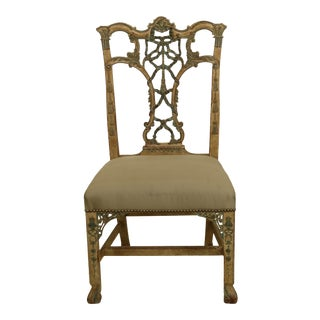 1990s Hickory Chair Co Paint Decorated Chinese Chippendale Occasional Chair For Sale