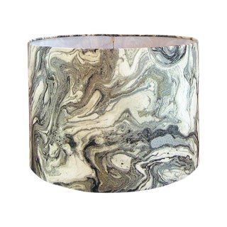 Silver Marbled Metallic Fabric Drum Lamp Shade