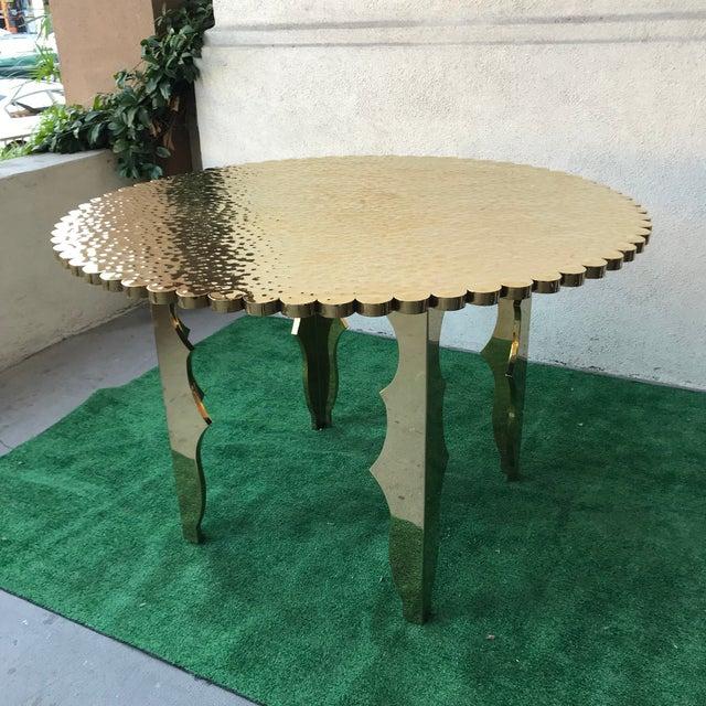 Klassik Monumental Brass Hammered Entry Table For Sale - Image 12 of 12