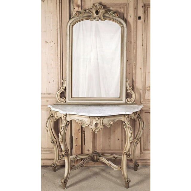 19th Century Italian Hand Painted Console and Mirror With Cararra Marble For Sale - Image 13 of 13