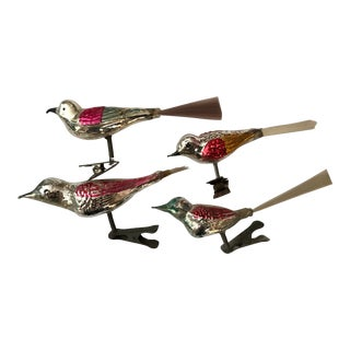 1960s Vintage Brush-Tail Christmas Tree Bird Figurines- Set of 4 For Sale