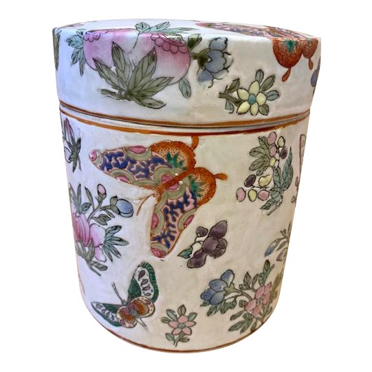 1970's Chinoiserie Porcelain Butterfly Lidded Container For Sale