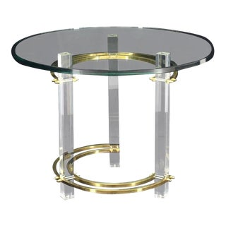 Mid-Century Brass Glass Lucite Round Center Side Table For Sale