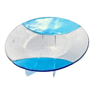 Italian Murano Vetri Clear and Blue Glass Oval Platter For Sale