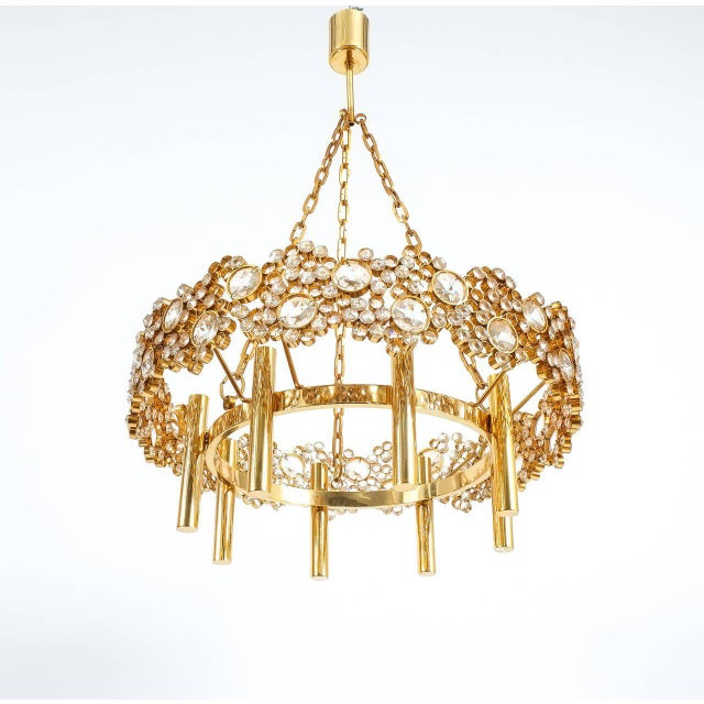 Metal Large Gilt Brass and Glass Chandelier Lamp, Palwa circa 1960 For Sale - Image 7 of 8